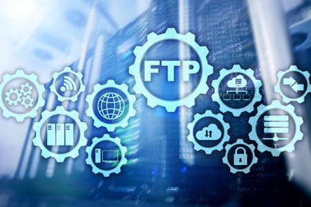 FTP. File Transfer Protocol. Network Transfer data to server on supercomputer background
