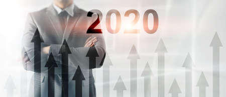 New 2020 year. Business presentation wallpaper. Corpotare concept. 스톡 콘텐츠