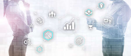 Cogwheel Gears abstract background business technology automation industry 4.0 concept of blurred modern city background.
