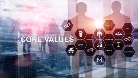 Kernwertekonzept auf virtuellem Bildschirm. Geschäfts- und Finanzlösungen
