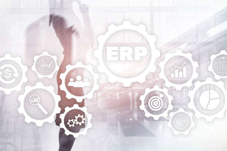 ERP system, Enterprise resource planning on blurred background. Business automation and innovation concept. Stok Fotoğraf