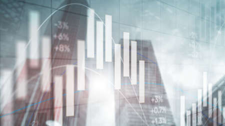 The stock market on the background of office buildings. Trading Wallpaper Imagens