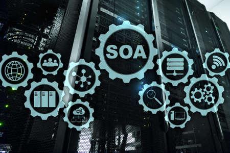 SOA. Architecture under principle of service encapsulation. Datacenter background. Stok Fotoğraf