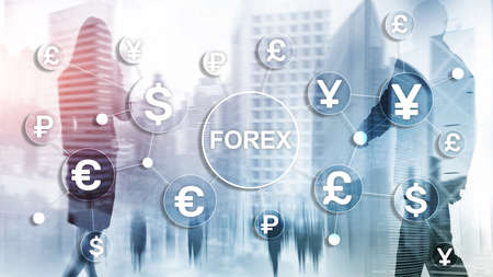 Forex trading currency exchange business finance diagrams dollar euro icons on blurred background Zdjęcie Seryjne