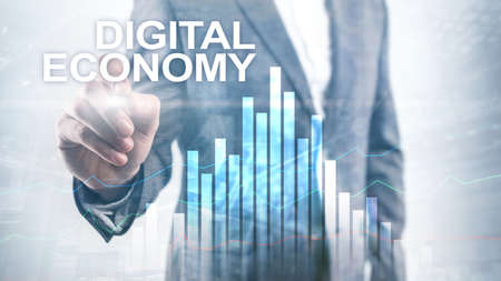 DIgital economy, financial technology concept on blurred background. Stockfoto - 130740181