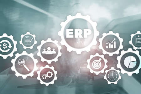 Enterprise resource planning on blurred background. Business automation and innovation concept