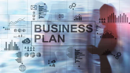 Double exposure Business plan and strategy concept. Stockfoto - 130740189