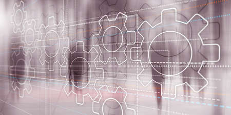 Business technology internet concept double exposure gears abstract background Stockfoto