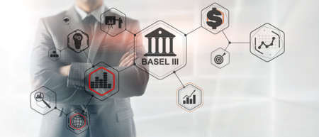 International regulatory framework for banks. Basel 3. Banking supervision concept Stockfoto - 131086991