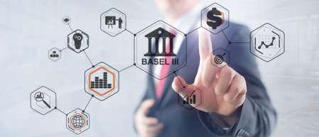Basel 3. Banking supervision concept. International regulatory framework for banks