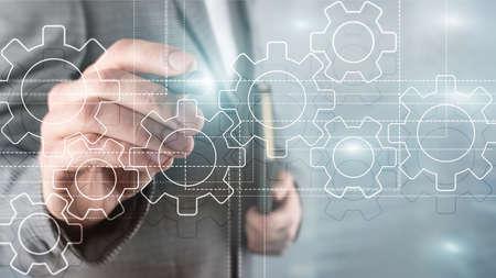 Gears mechanism, digital transformation, data integration and digital technology concept 写真素材