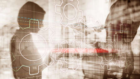 Business technology internet concept double exposure gears abstract background. Stok Fotoğraf