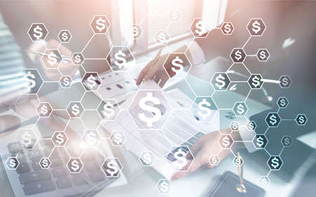 Dollars icons on abstract business background. Investment concept. Coins airplane calculator on virtual screen