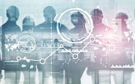 Creative digital abstract business interface background. Financial chart graph diagram and icon on virtual screen. Double exposure. Stok Fotoğraf