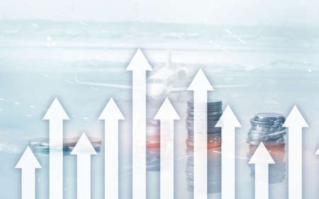 Growth up arrows on futuristic abstract background. Investing or savings to growth up money or business concept. 写真素材