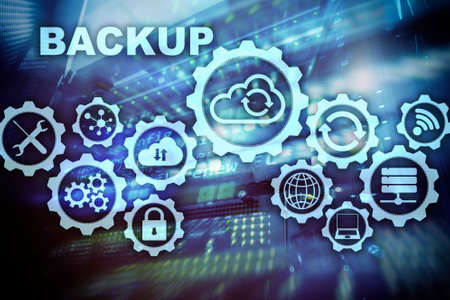 Backup System Recovery Technology Concept on modern server room background.