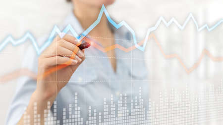 Business Financial Trading Investment concept graph virtual screen double exposure Stok Fotoğraf