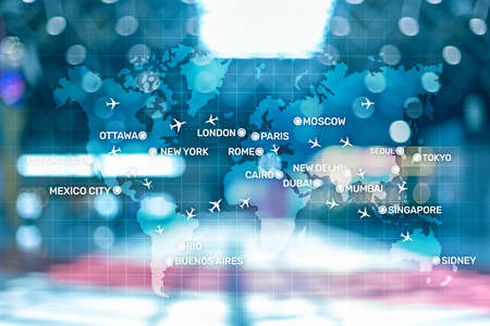 Aviation wallpaper with planes over the map with major city names. Digital map with planes around the world concept. Stok Fotoğraf