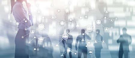 Concetto di gestione delle risorse umane delle risorse umane struttura organizzativa aziendale schermo virtuale a doppia esposizione multimediale.
