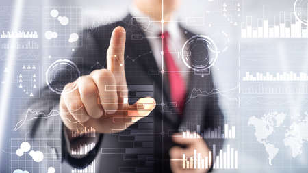 Business intelligence. Diagramma, grafico, commercio di borsa, cruscotto di investimento, sfondo sfocato trasparente.