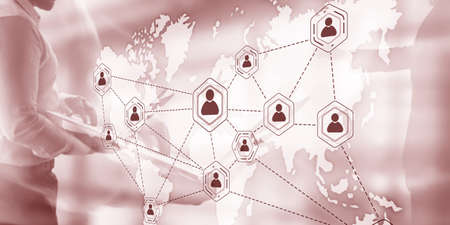 Social network with connected people 3D icons on map. Background for presentations Stockfoto - 133200111