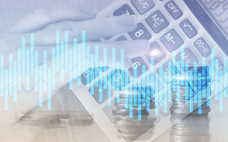 andle chart. Business analysis, financial investment concept. Economic trend and blurred background with financial graph on virtual screen
