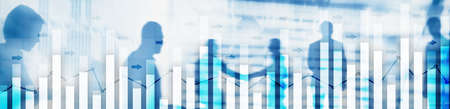 Investment trading financial analysing forex currency economy growth abstract background business people modern city.