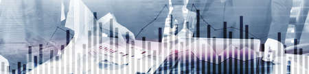 Concept of investing and analyzing a business. Abstract horizontal background Stockfoto