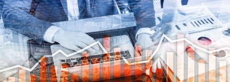 Orange trading charts. Business Stock exchange concept.