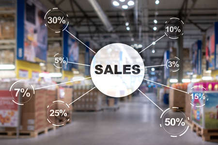 Sale discount concept. Inscription Sales on blurred shop background Stockfoto - 133199760