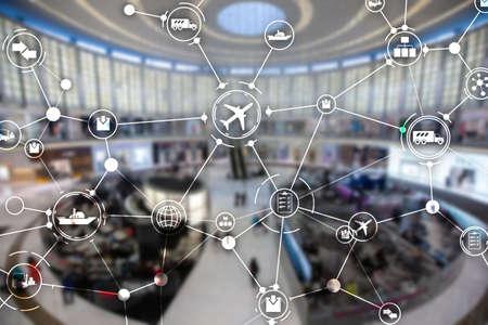 Planning de livraison sur écran virtuel. Concept de réseau logistique mondial.