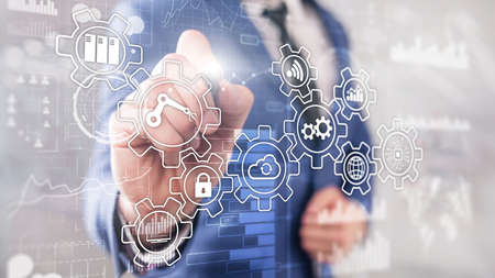 Technology innovation and process automation. Smart industry 4.0. Stockfoto