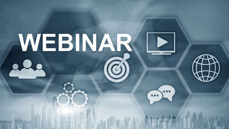 Inscription Webinar on the background of Dubai, Personal development and e-learning concept on blurred abstract background. Stockfoto
