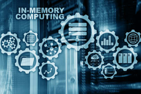 Blue In-Memory Computing. Technology Calculations Concept. High-Performance Analytic Appliance.
