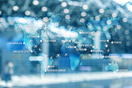 Aviation wallpaper with planes over the map with major city names. Digital map with planes around the world concept. Stockfoto