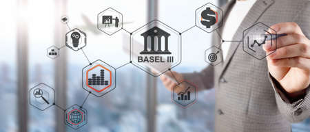 Man writes on a virtual whiteboard: Basel 3. Banking supervision concept Stockfoto - 133251059