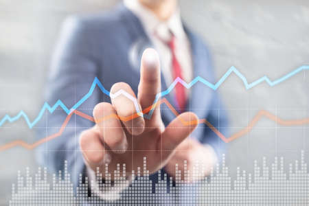 Business Financial Trading Investment concept graph virtual screen double exposure Stockfoto