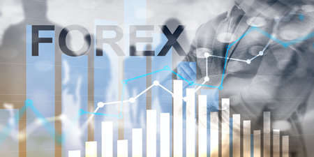 Forex trading currency exchange business finance diagrams dollar euro icons on blurred background.