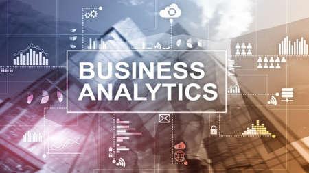 Business analytics concept on double exposure background. Stockfoto