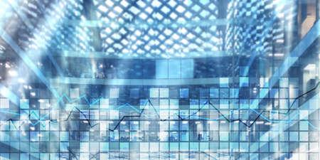 Squares and stock market graph. Mixed media stock market 2.0 Stockfoto