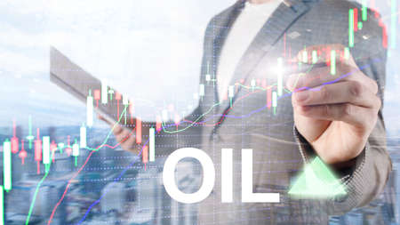 Oil trend up. Crude oil price stock exchange trading up. Price oil up. Arrow rises. Abstract business background