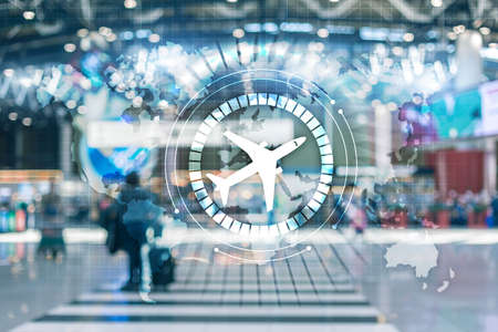 Business Travel Background. Airplane icon on virtual screen. Airplane transportation route network concept. Stockfoto
