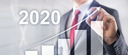 Business graph with arrow up. Mixed Media Corporate Background Growth in 2020 year Stok Fotoğraf - 133637024