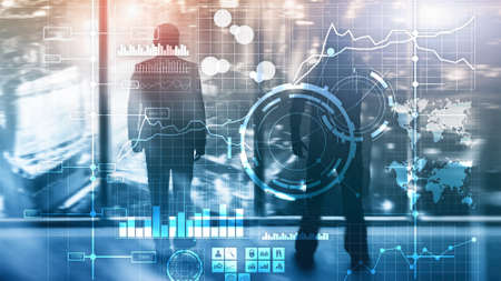 Business intelligence BI Key performance indicator KPI Analysis dashboard transparent blurred background Stockfoto
