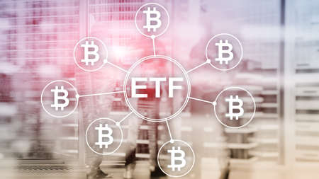 Bitcoin ETF cryptocurrency trading and investment concept on double exposure background Stockfoto - 133637033