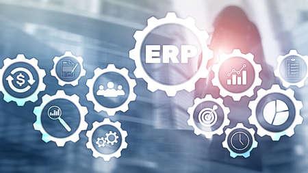 Sistema ERP, planificación de recursos empresariales sobre fondo borroso. Concepto de innovación y automatización empresarial