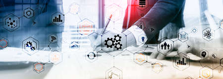 Gears icons engineering manufacturing automation innovation structure abstract concept
