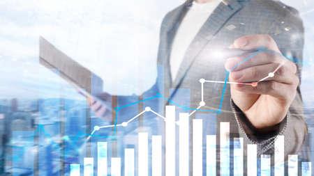 Financial growth graph. Sales increase, marketing strategy concept. Фото со стока