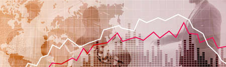 Red and White Stock Market Graph. Web header or banner.