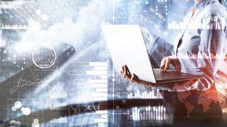 Intelligenza aziendale. Diagramma, grafico, trading di azioni, dashboard di investimento trasparente sfondo sfocato